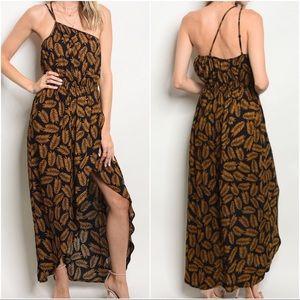 Dresses & Skirts - Bohemian Boho Jungle Golden Leaf Print Maxi Dress